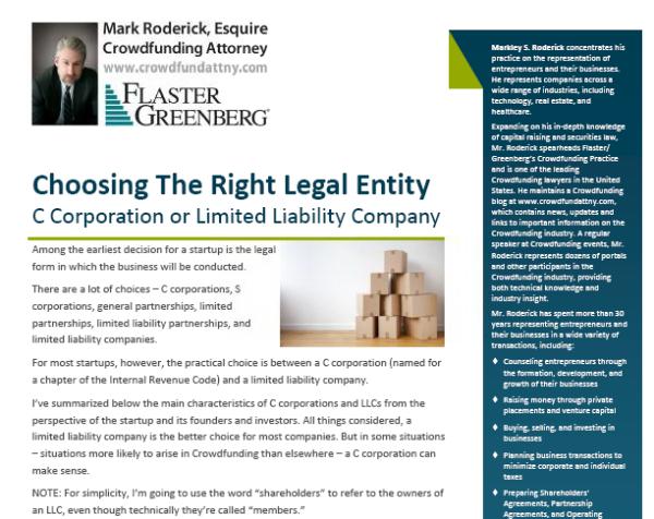 Choosing the Right Legal Entity Flyer