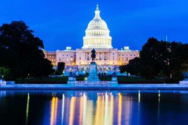 US CApitol Building Illuminated at Night